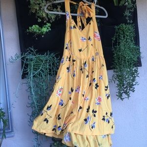 Urban Outfitters Yellow Floral Halter Dress